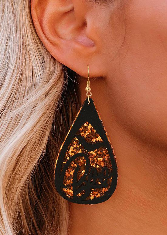 Halloween Glitter Pumpkin Cat Water Drop Earrings