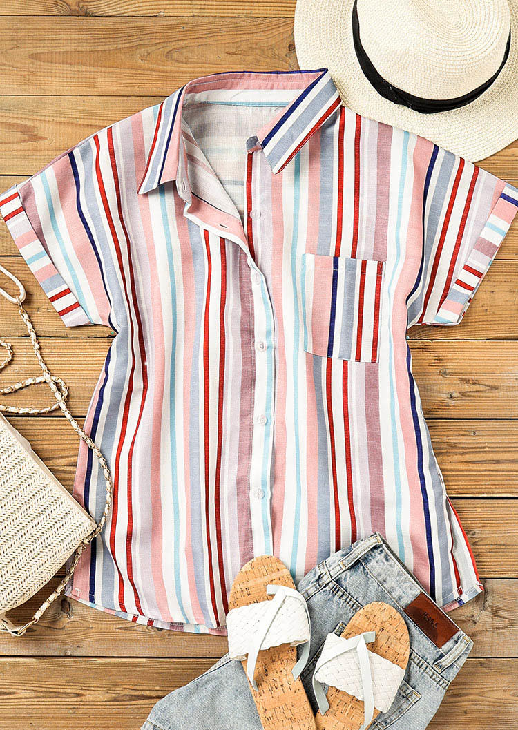 Colorful Striped Pocket Button Turn-Down Collar Shirt