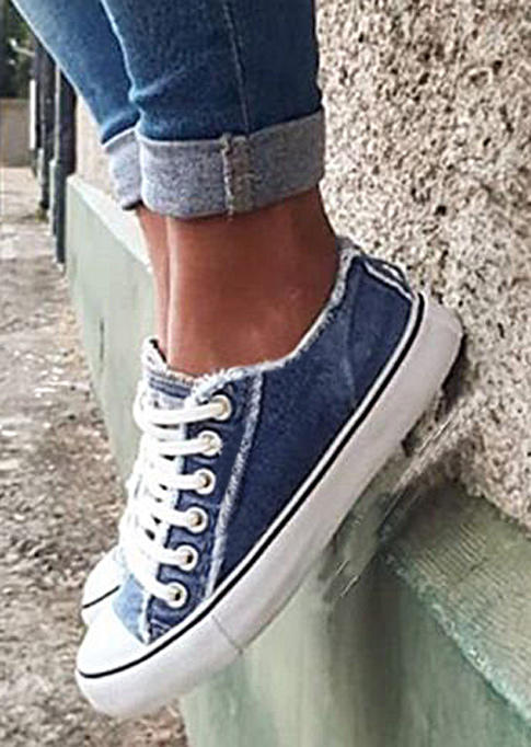 Frayed Hem Lace Up Canvas Sneakers - Blue