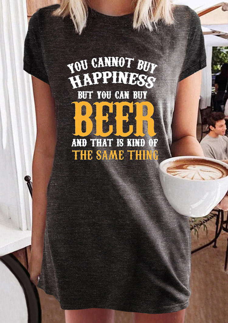 You Cannot Buy Happiness But You Can Buy Beer Mini Dress - Dark Grey