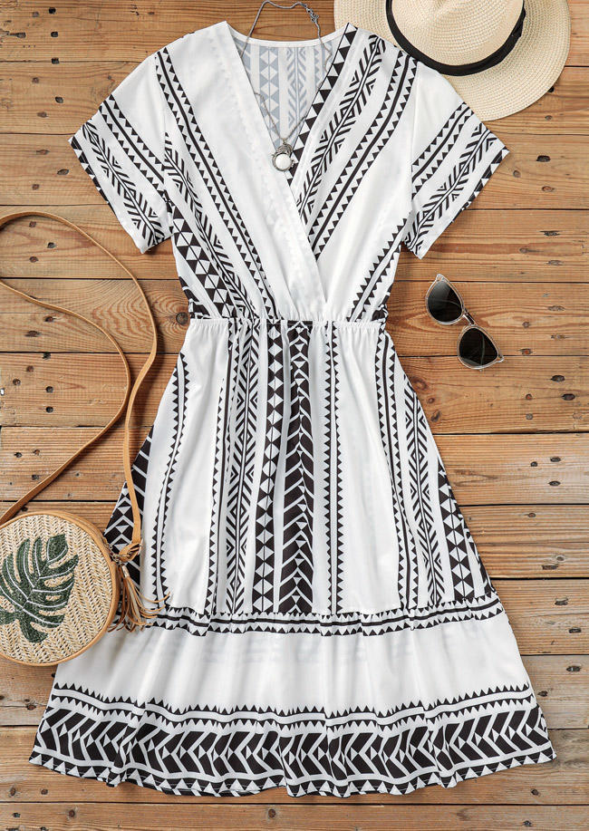 Vintage Geometric Wrap Midi Dress - White