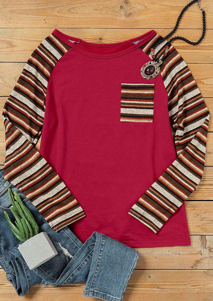 Striped Splicing Pocket Long Sleeve Sweatshirt - Burgundy