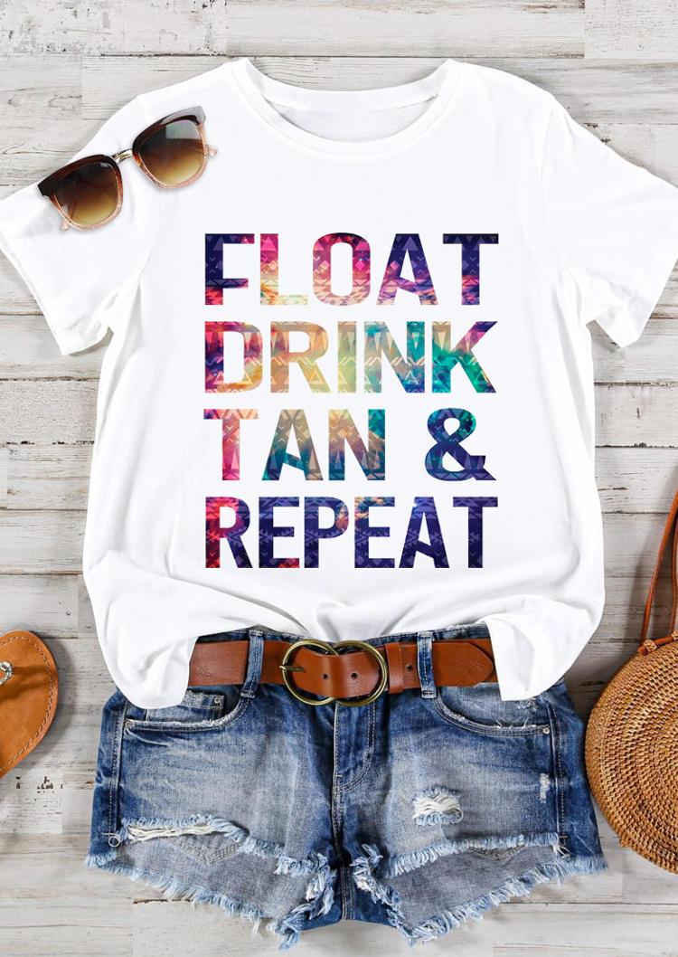 Float Drink Tan & Repeat Racerback T-Shirt Tee - White