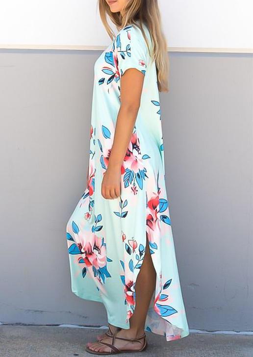Floral Slit Short Sleeve V-Neck Maxi Dress - Light Blue
