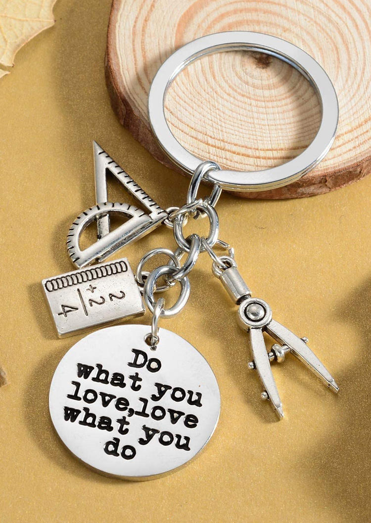 Keychains Do What You Love Love What You Do Keychain in Silver. Size: One Size