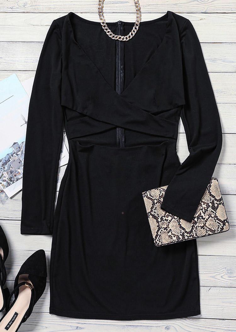 Criss-Cross Hollow Out Long Sleeve Bodycon Dress - Black