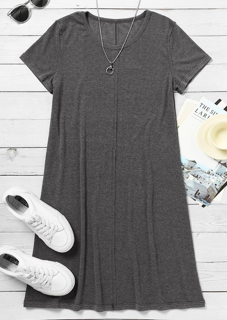 Short Sleeve O-Neck Casual Mini Dress - Gray