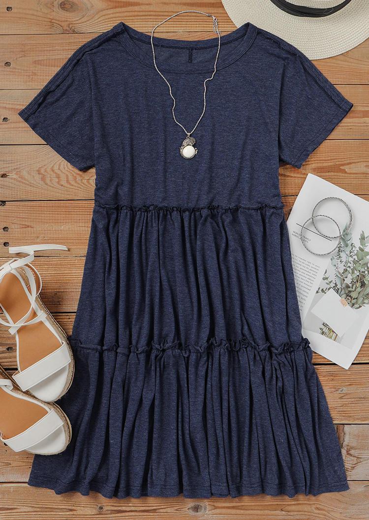 Ruffled O-Neck Short Sleeve Mini Dress - Deep Blue