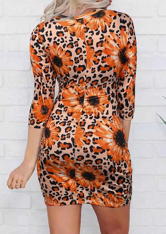 Sunflower Leopard Twist Hollow Out Bodycon Dress