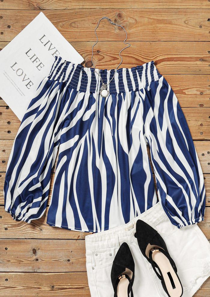 Striped Elastic Cuff Long Sleeve Off Shoulder Blouse - Blue
