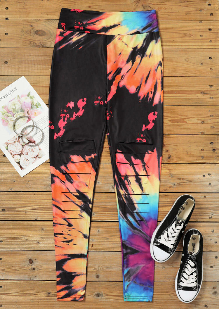 Reverse Tie Dye Rainbow Hollow Out High Waist Leggings