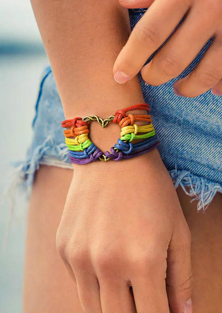 Colorful Heart Braid Bracelet