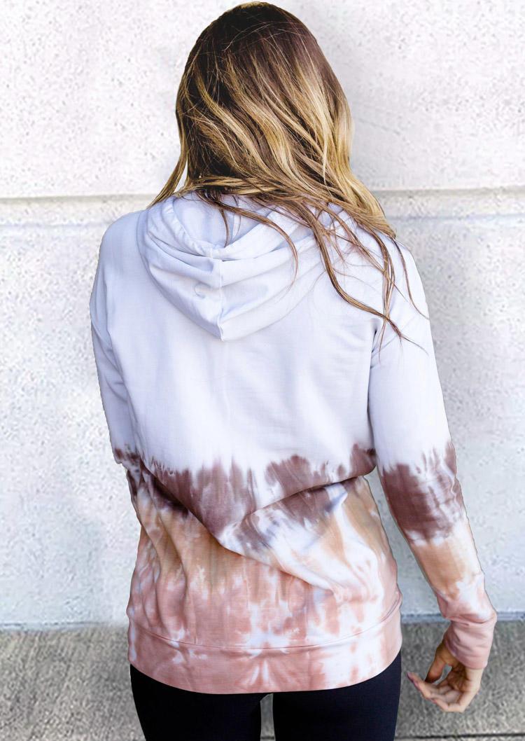 Tie Dye Kangaroo Pocket Drawstring Hoodie - White