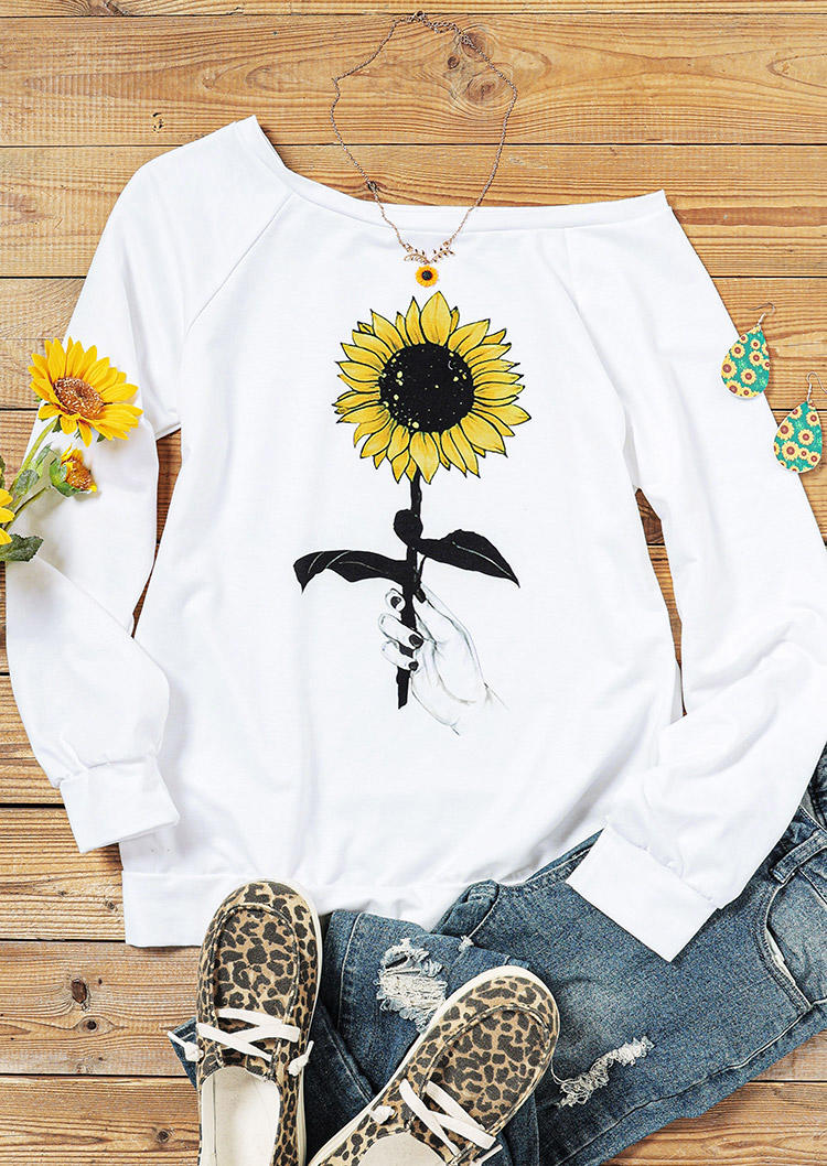 Sunflower LongSleeve Slash Neck Sweatshirt - White
