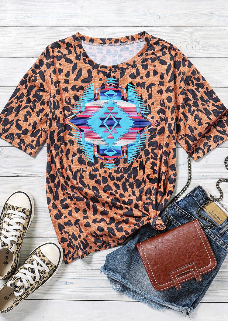 Leopard Aztec Geometric Western T-Shirt Tee