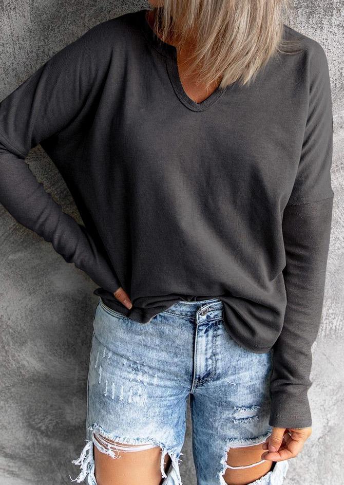 Long Sleeve V-Neck Blouse - Dark Grey