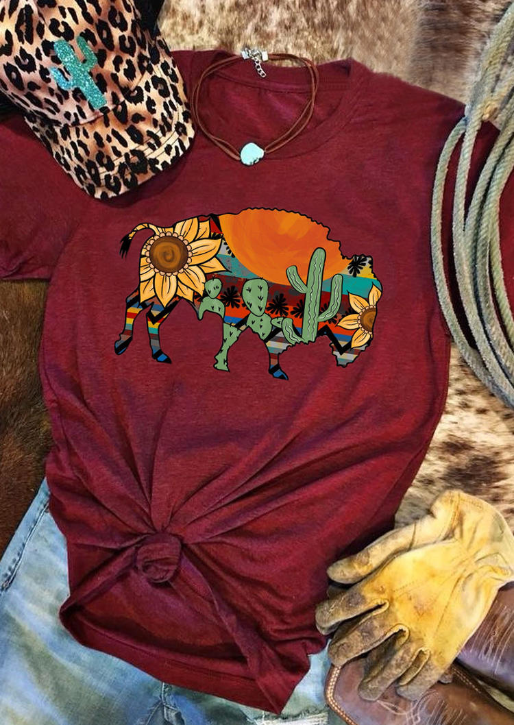 Buffalo Serape Striped Cactus Sunflower T-Shirt Tee - Burgundy