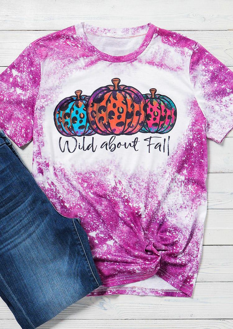 Tie Dye Leopard Pumpkin Wild About Fall Bleached T-Shirt Tee - Purple