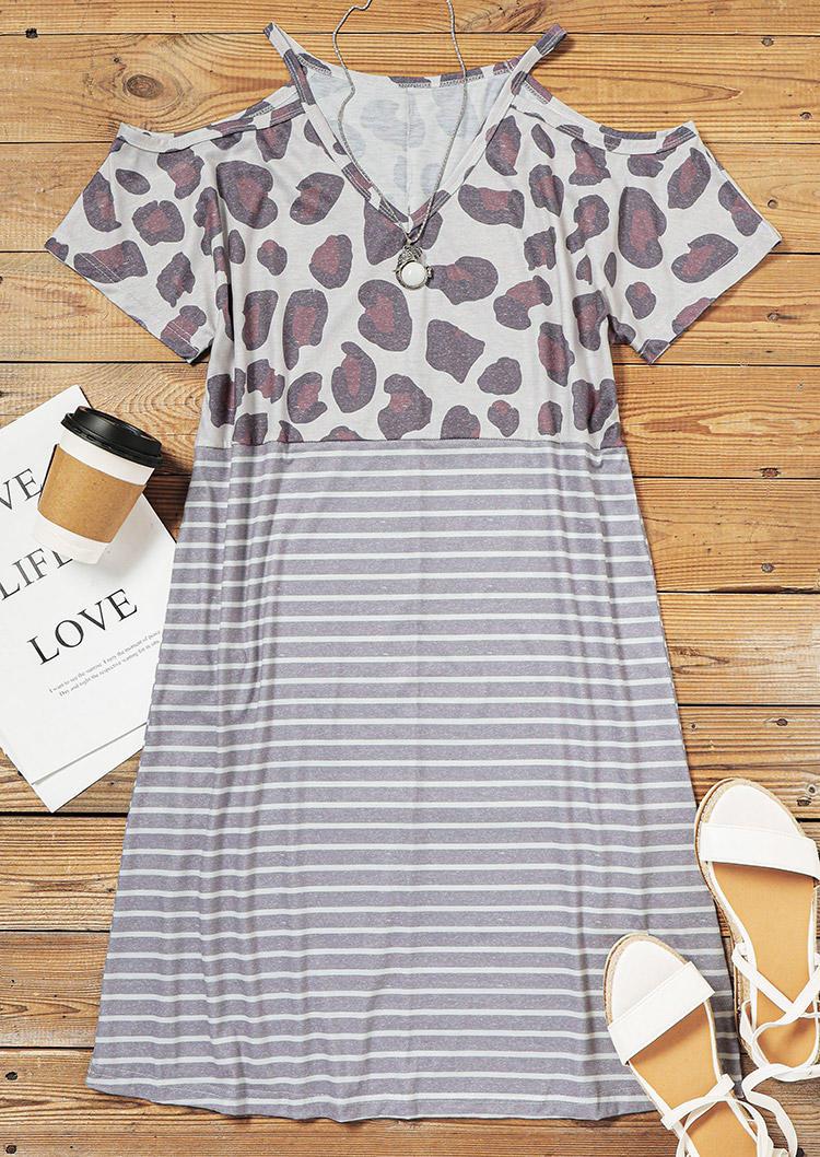 Leopard Striped Cold Shoulder V-Neck Mini Dress