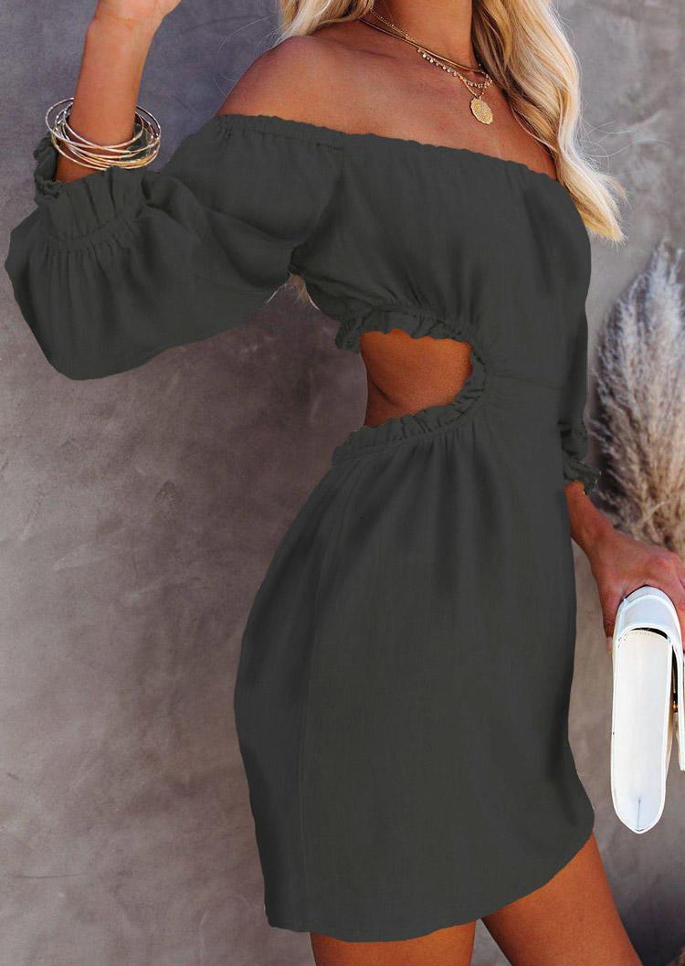 Hollow Out Ruffled Lantern Sleeve Mini Dress - Black