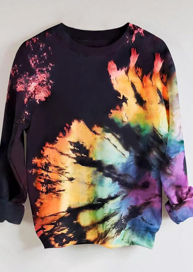 Reverse Tie Dye Rainbow O-Neck Sweatshirt