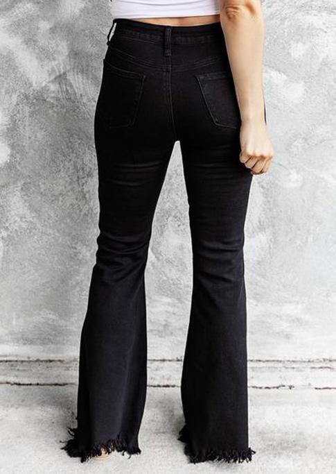 Button Frayed Hem High Waist Denim Flare Pants - Black