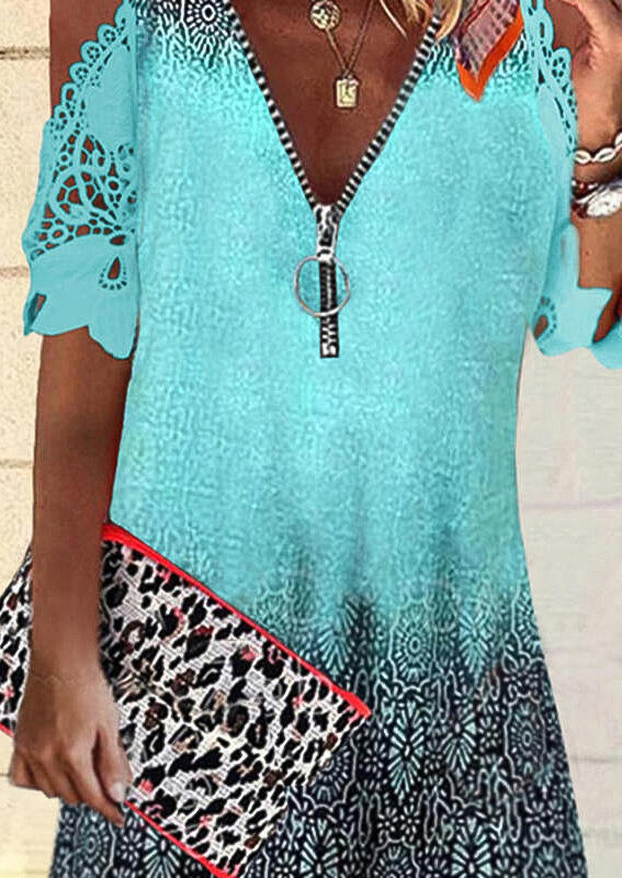 Gradient Floral Lace Zipper Collar Cold Shoulder Mini Dress - Green