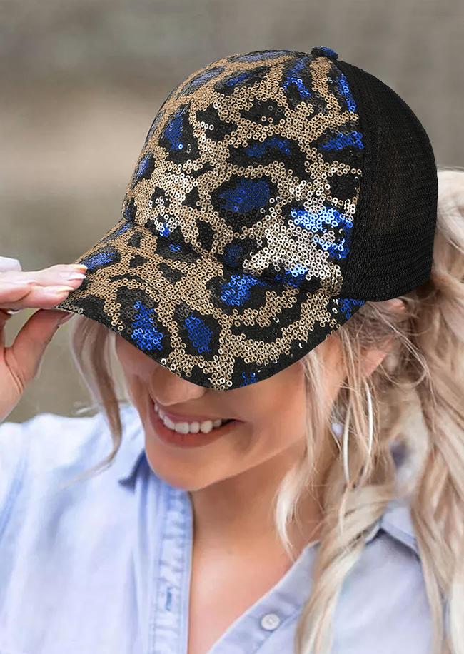 Hats Glitter Leopard Mesh Baseball Cap in Blue,Gold. Size: One Size