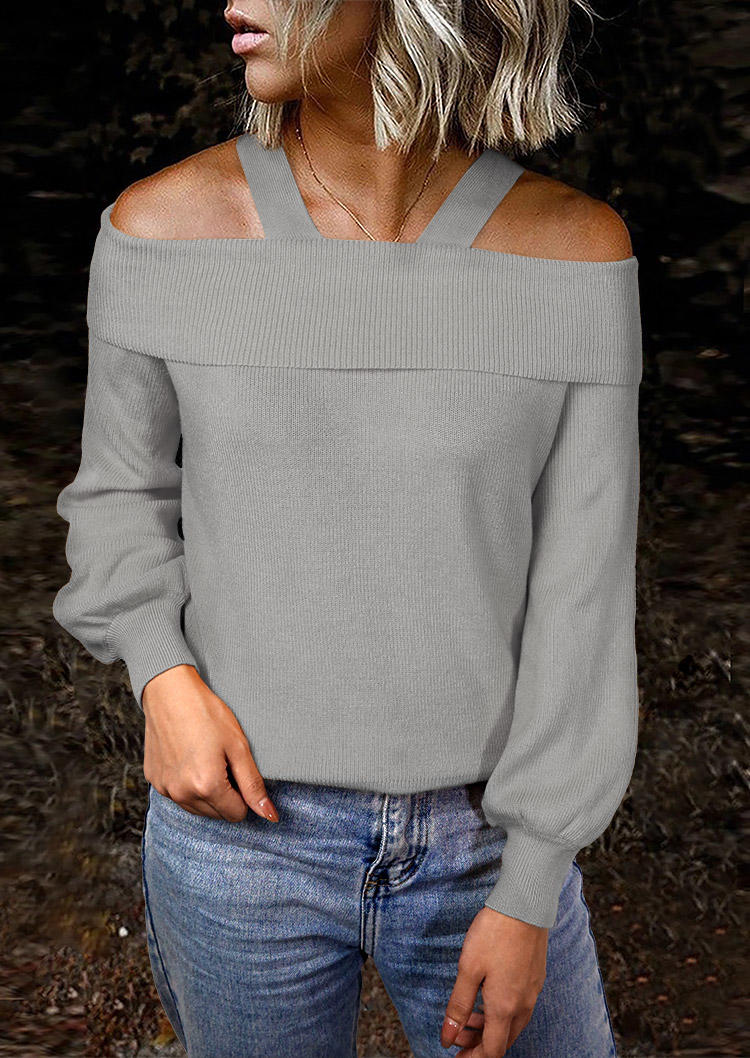 Cold Shoulder LongSleeve Sweater - Gray