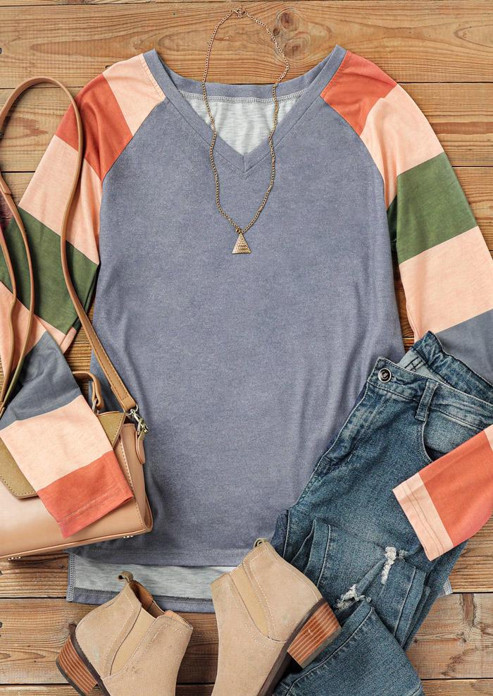 Color Block V-Neck Long Sleeve Blouse