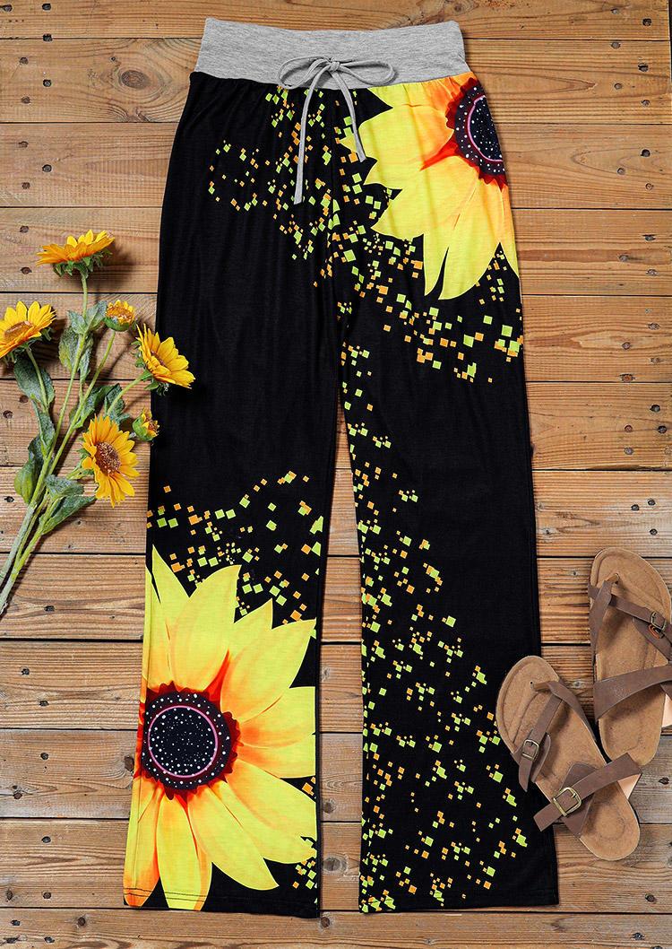 Sunflower Drawstring Low Waist Casual Pants - Black