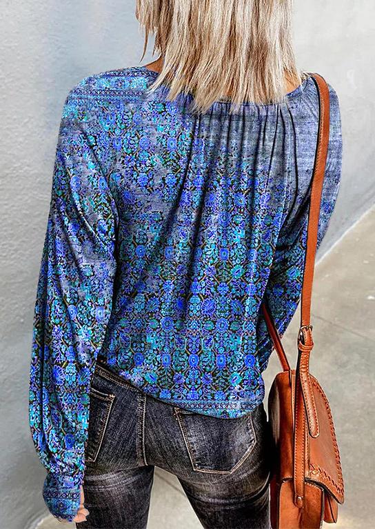 Floral Long Sleeve O-Neck Blouse - Blue