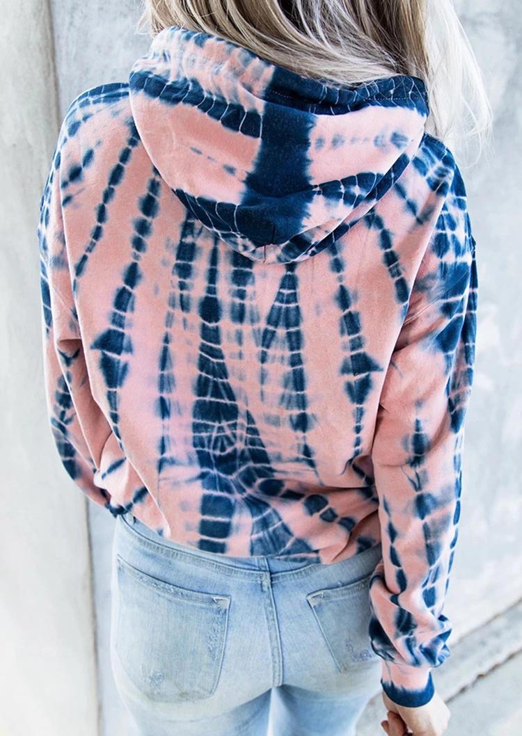 Tie Dye Drawstring Kangaroo Pocket Hoodie