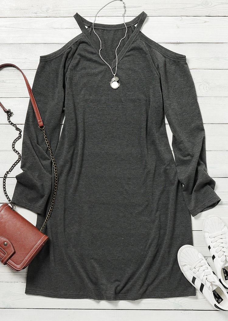 Cold Shoulder V-Neck Mini Dress - Dark Grey