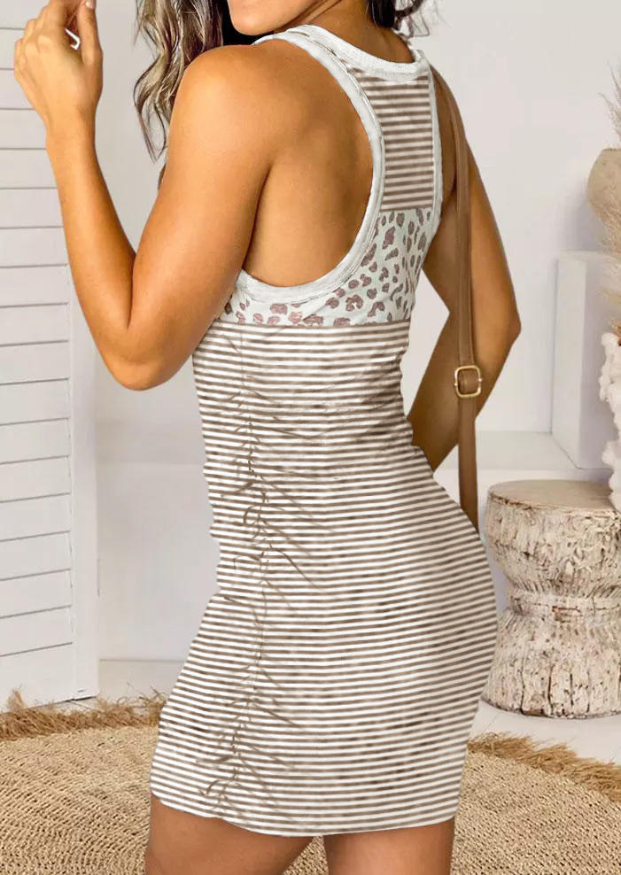Striped Leopard Sleeveless O-Neck Bodycon Dress