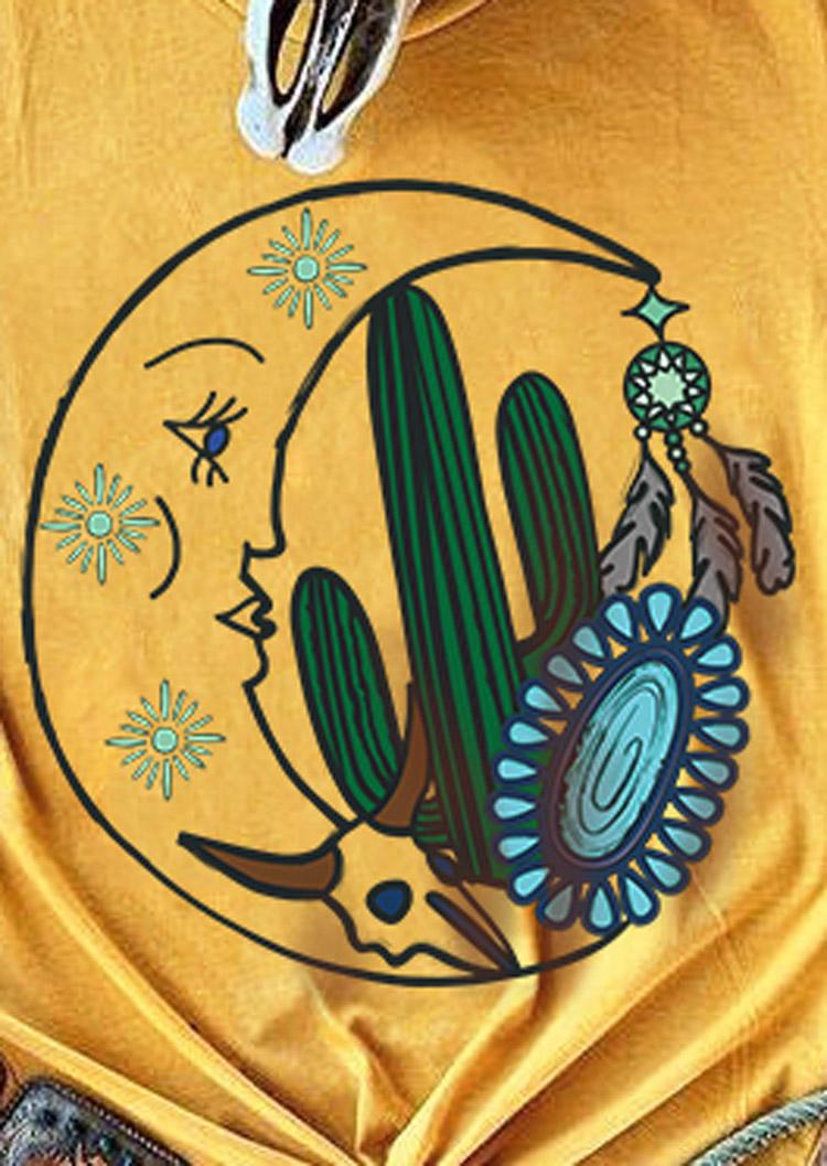 Western Cactus Moon Turquoise T-Shirt Tee - Yellow