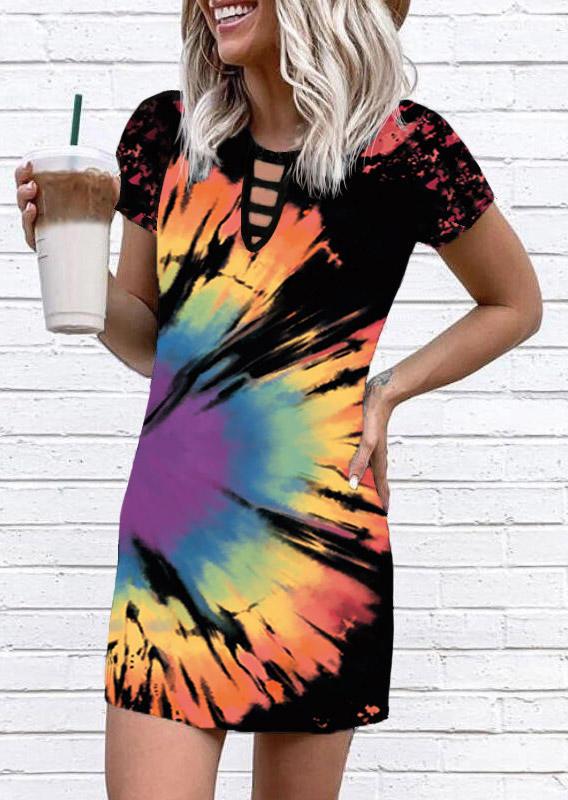 Reverse Tie Dye Rainbow Keyhole Neck Mini Dress - Black