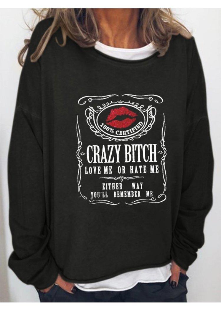 Lips Love Me Or Hate Me Long Sleeve Sweatshirt - Black