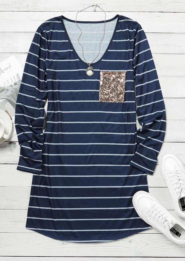 Sequined Pocket Splicing Striped Mini Dress