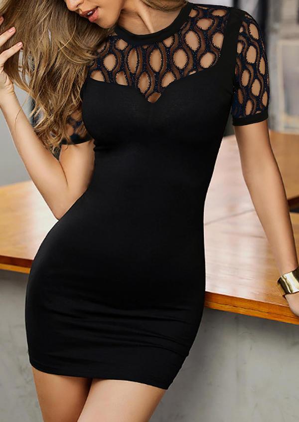 Hollow Out Cut Out Mini Dress - Black