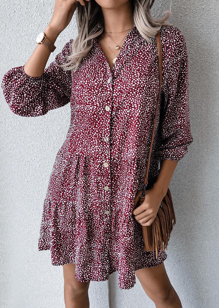 Polka Dot Button Mini Dress - Plum