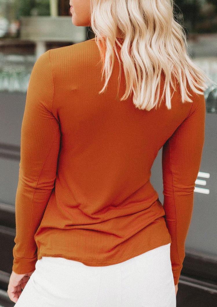 Button Long Sleeve Casual Blouse - Orange