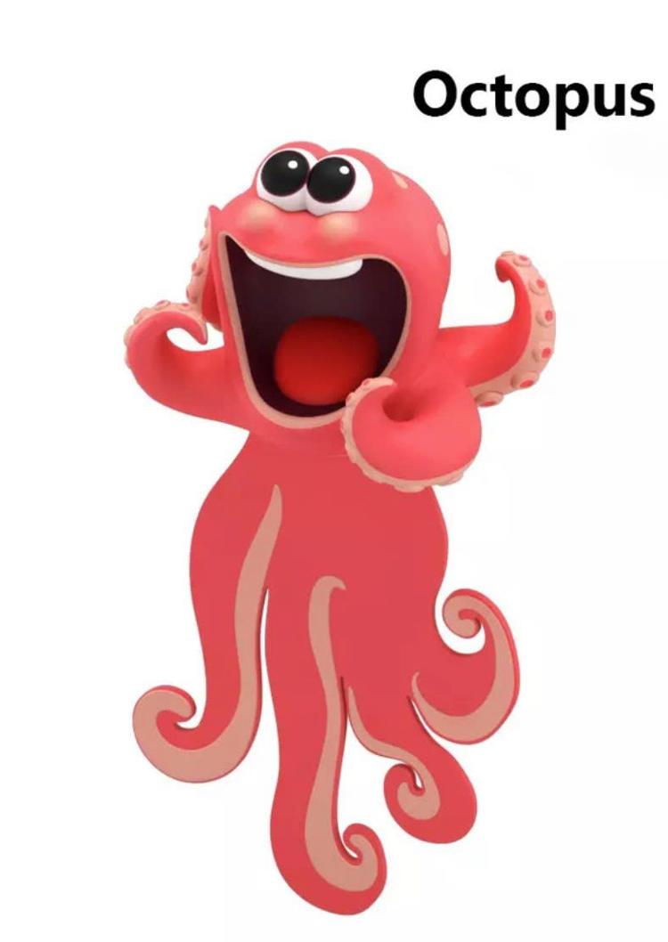 3D Cartoon Ocean Shark Octopus Funny Flat Bookmark