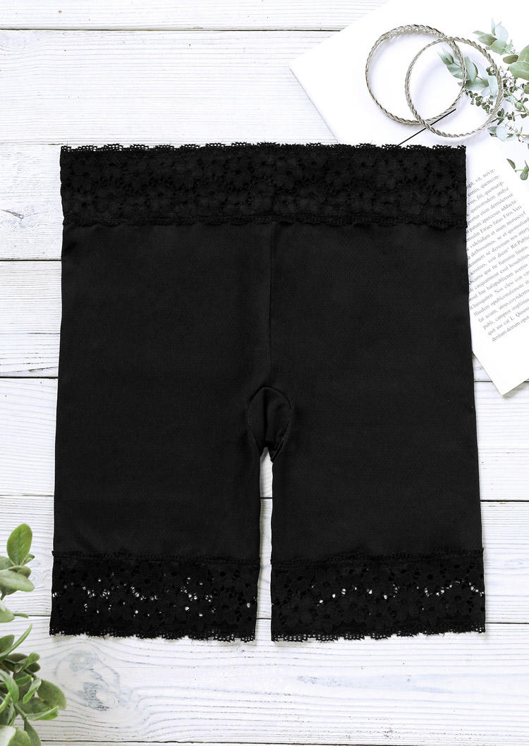 Plus Size Lace Splicing Elastic Safety Tight Panties - Black