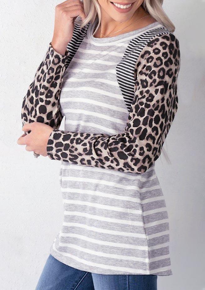 Striped Leopard Long Sleeve Blouse