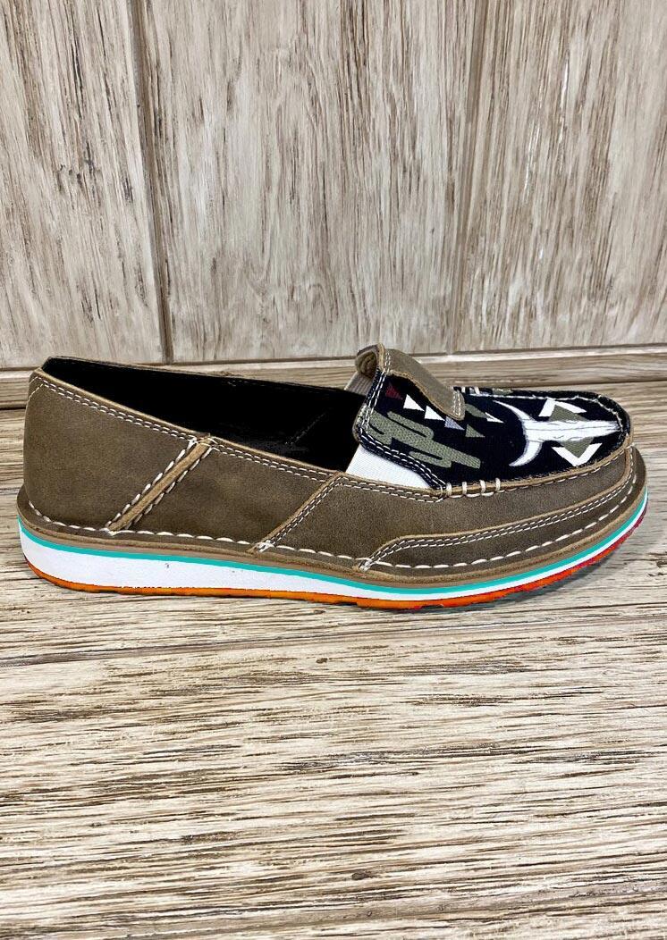 Geometric Slip On Flat PU Leather Sneakers - Brown