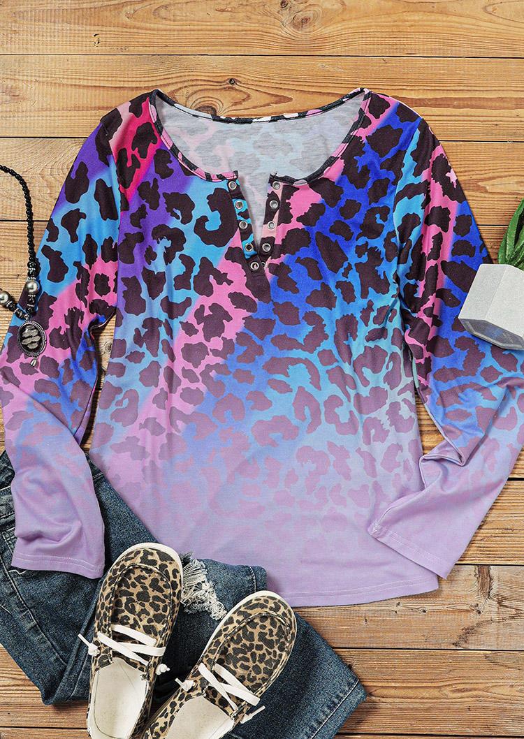 Colorful Leopard Gradient Long Sleeve Blouse