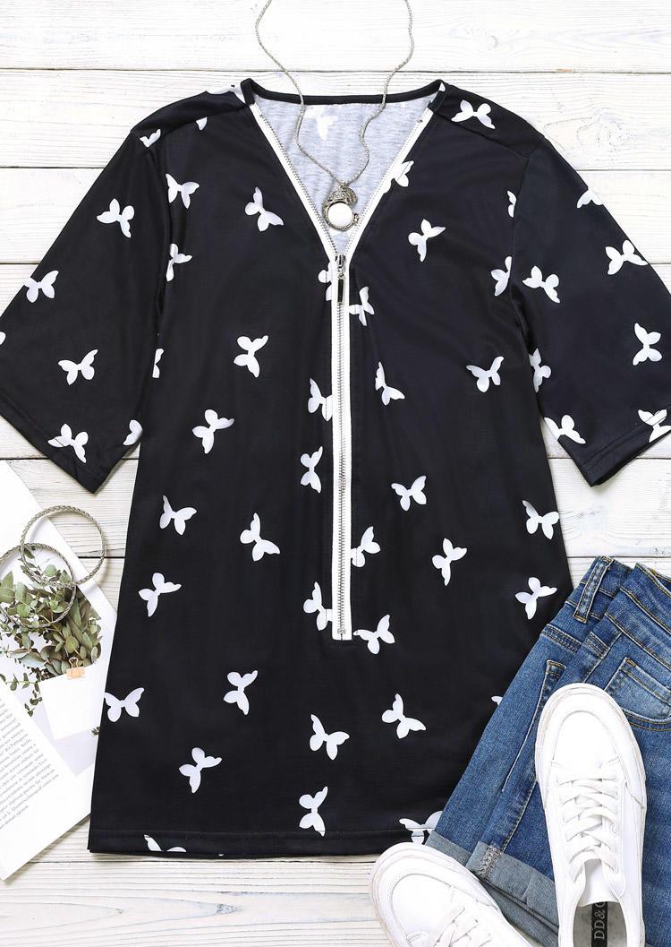 Butterfly Zipper Collar Casual Blouse - Black