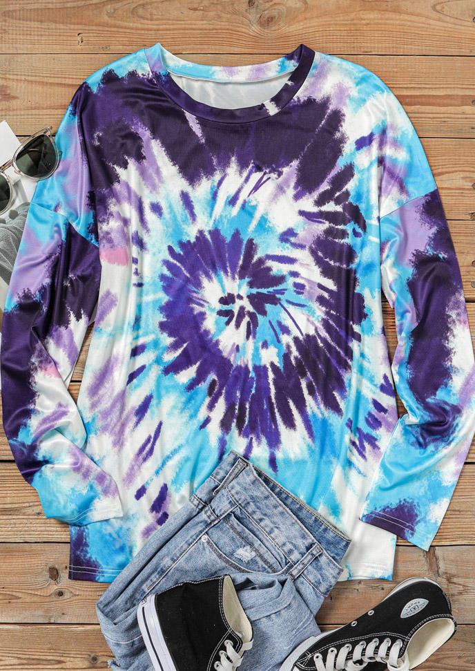 Swirl Tie Dye Long Sleeve O-Neck Blouse