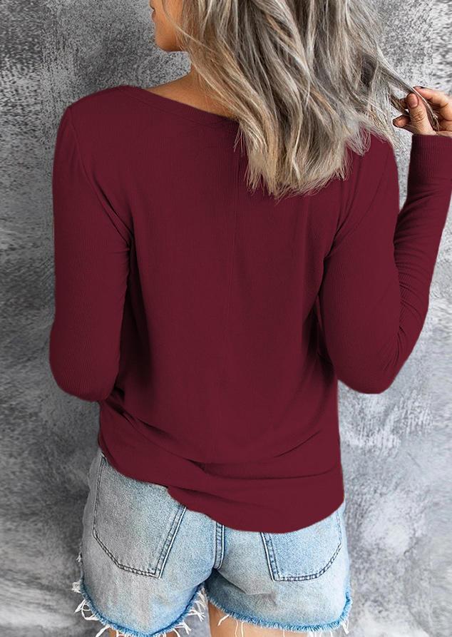 Drawstring Long Sleeve Casual Blouse - Burgundy